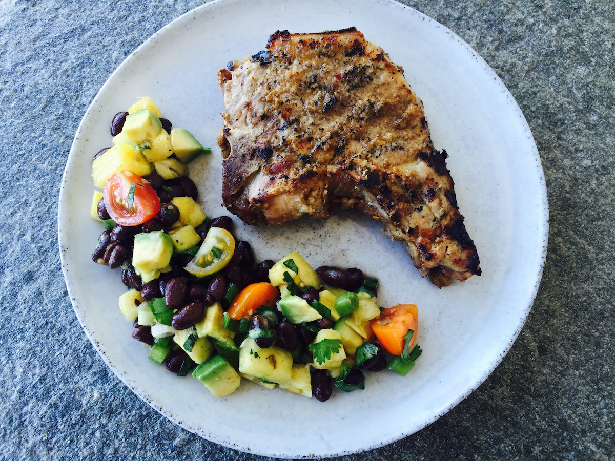 Jerk Pork Chops with Pineapple Salad - Herbie's Spices