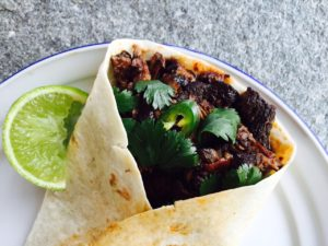 slow cooked pork tortilla